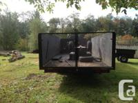 20' deck 8 feet wide 4' side tandem axle with brakes.