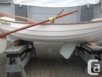 8 ft Fiberglass Clinker/Lapstrake Rowing/Sailing Dinghy
