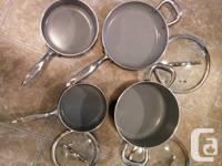 1 pan, small, medium and large pots all with lids. This