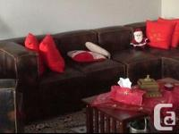 Full grain, high quality, brownish leather sofa set,