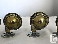 Set of four Mid-Century Brass-Plated Round Swivel