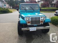 Make Jeep Model YJ Year 1992 Colour Blue kms 340 Trans