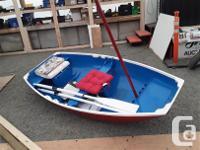 9'3 x 4'3 Cedar sailboat with fiberglass coating. Comes