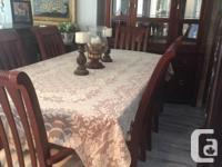 9pc solid wood dining room set table with 6 chairs and