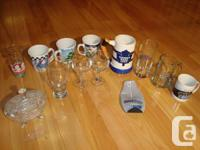 A Selection Of Glasses And Mugs and Flatware -All sold
