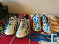2 pairs of size 2 Addidas Messi Soccer Cleats in very