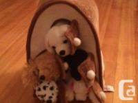 5 puppy stuffies and their house or carrier with