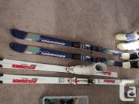 Assorted size skis and also boots for sale. Skis: $10