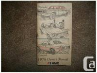 Original 1978 AMC Owner's Manual applicable to Concord,