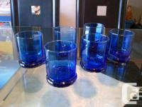 ANCHOR HOCKING Beautiful 12 Blue Glasses Great