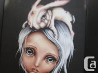 "ANGELINA WRONA large Silkscreen on canvas ""BUNNY"
