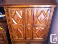 Antique armoire, dresser and two night tables for