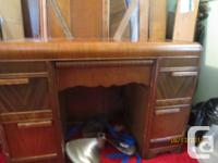 Antique Head board and foot board to match, six drawer