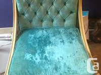 Beautiful antique blue velvet chair. It was not