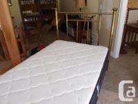 Antique 3/4 size brass bed with new mattress and