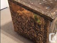 """Antique Brass Hammered Wood Box Approximately L 21"""" D"""