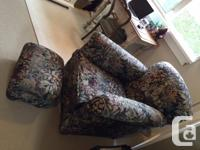 Antique Brocade Chair and Foot Stool. In excellent