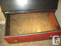 Antique wood writing desk with a drop down front. I