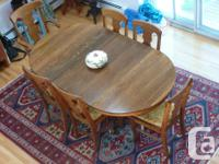 Antique claw foot pedestal solid oak dining table with
