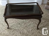CARVED WOOD COFFEE TABLE WITH REMOVEABLE TRAY TOP This