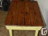 Vintage Painted Farm Table with refinished pine top and