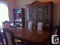 Antique dining room set made of solid oak wood for