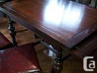 Antique Dining Room Suite:  Dark Oak, original finish,