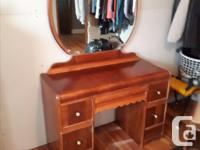 Dressing table or makeup table with a bench and
