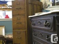 Antique Oak Filing Cabinet - includes divider panels -
