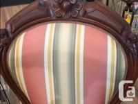 Beautiful Antique Fireside Chair with Stool Original
