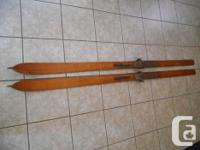 Antique Handmade Wooden Skis - 84 inch long wooden