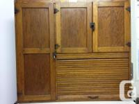 Stand alone kitchen armoire with pull out enamelled