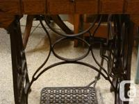 Antique Iron Treadle Sewing Machine Base with Pine