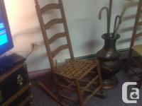 Antique Ladder Back Cain Chair and Rocking Chain .Woven