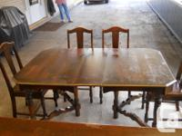Antique Mahogany Dining Table with 5 Chairs, plus