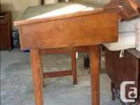 Antique drafting table solid mahogany with green