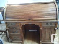 Antique maple roll top desk made by D.S. Rickaby