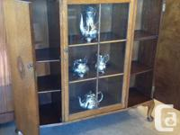 Solid oak bookcase and china cabinet, the six pane