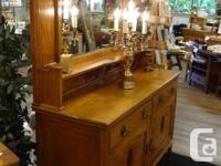 Gorgeous and very large antique oak buffet hutch with