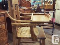 Antique Oak Chair With Fold-Up Tray & Caned Seat