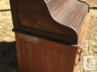 Antique Oak Roll Top Desk Double Pedestal Solid &