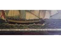This antique oil on canvas of a brig (sailboat with 2