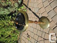 Pedestal Brass Ashtray with wood and brass pedestal -