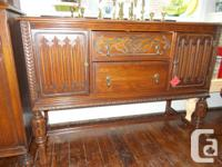 SOLID OAK BUFFET IN PRISTINE CONDITION OVER 100 YEARS