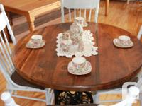 Beautiful pine table top with antique Singer sewing