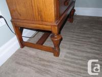 Antique solid white oak writing desk. Top exhibits