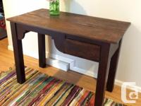 "Solid wood antique desk (no drawer). 37"" wide by 27"""