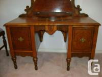 Beautiful solid wood vanity & matching seat (1930's?).
