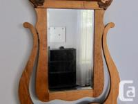 Canadiana dresser with attached mirror. - Bevel edge