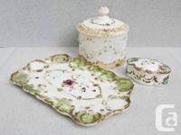 1.Antique Victorian dressing set. hand-painted milk